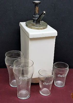 Antique Porcelain / Brass Coca Cola Drop In Soda Fountain Syrup Dispenser Unit