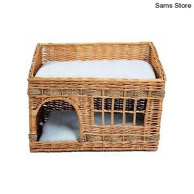 Cat Bed Cushioned Den Kitten Basket Woven 2 Floors Snug Indoor Napping Lounging