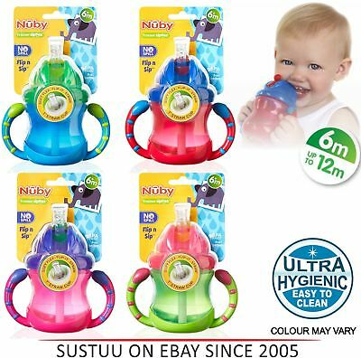 Nuby Baby Flip N Sip Two Easy-grip Handle Silicone Straw Training Cup 240ml +6