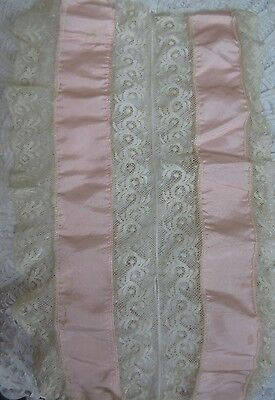 Antique Lace Panel Pink Silk Cutter for French Doll Dress or Bonnet Trim
