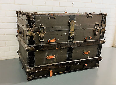 Antique Steamer Trunk Wardrobe Storage / Immigrant Luggage 1900's