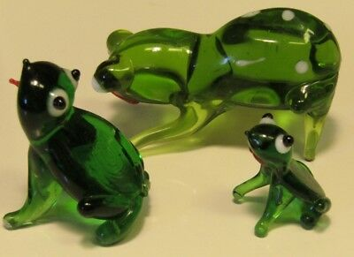 3 BLOWN GLASS FROGS Miniature Frog Toad ART GLASS Cute Figurine Animal