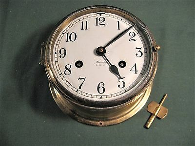 ANTIQUE FULTON ADMIRALTY SHIP'S BELL CLOCK GERMANY w/KEY