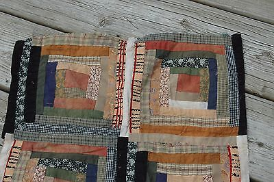 Vintage Log Cabin Cotton Earth Tones Quilt Top Piece 15 x 16