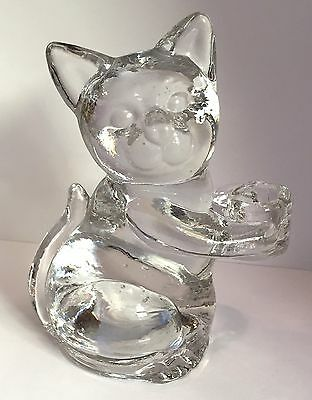 Cat Candle Holder Clear Glass for One Small Taper Candle