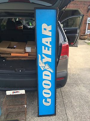 Vintage Large Long Goodyear Tires Double Sided Sign In Box Frame