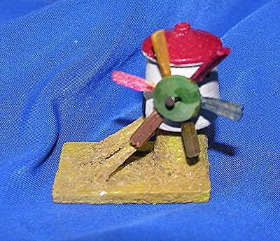 Rare Vtg 1920's Antique German Erzgebirge Wood Miniature Windmill, Xmas Putz