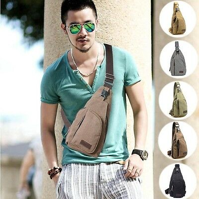 Man Casual Outdoor Travel Hiking Chest Canva Crossbody Back Pack Shoulder Bag