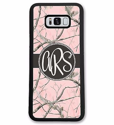 Personalized Pink Camo Case for Samsung Galaxy - Hard Rubber Black