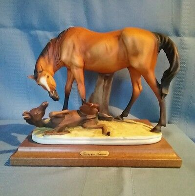 Mare & Foal Figurine From Italy by Capodimonte & Guiseppe Armani