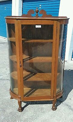 Vintage Oak Curio Cabinet Curved Glass & Claw Feet