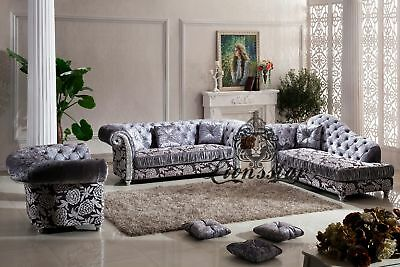 sofagarnitur grau echt leder sofa 3 er 2 er eur 1 00 picclick de. Black Bedroom Furniture Sets. Home Design Ideas
