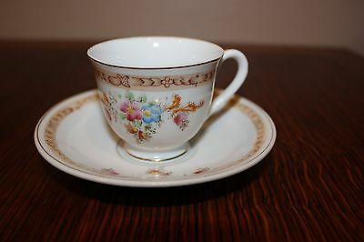Pretty Floral Design Demitasse Tea Cup & Saucer ~ Made in Occupied Japan