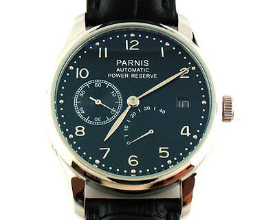Parnis 43mm Black dial Power Reserve Seagull 2530 Automatic mens Date Watch 154