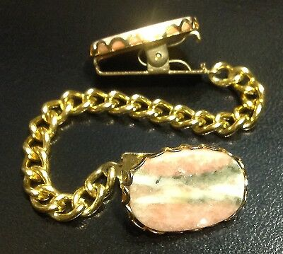 Vintage Scarf / Sweater Clip Gold Tone Chain Quartz Pink Silver Stones Sturdy