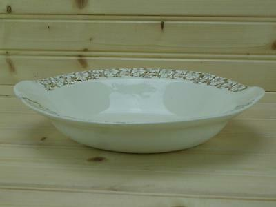Taylor Smith &Taylor 1966½  Handled Oval Vegetable Bowl  - Gold Flowers 8481