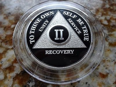 AA Alcoholics Anonymous Silver Plated Black Coin 2 Year Medallion +Airtite+Stand