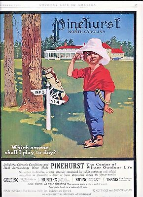 1912 Print Ad PINEHURST NORTH CAROLINA ~ GOLF ~ WHICH COURSE SHALL I PLAY TODAY?