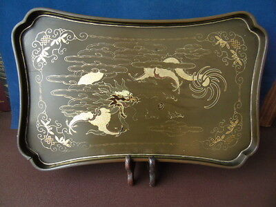 Antique Chinese Lacquered Tray Depicting The Celestial Chinese Dragon