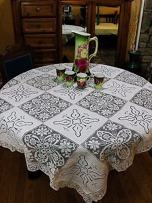 Antique Filet Lace Tablecloth with Cut Work Embroidered Panels & 12 Napkins