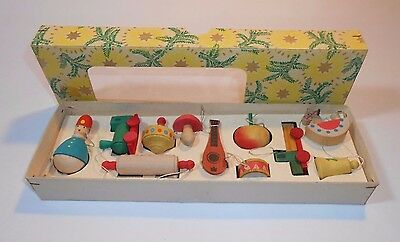 Vtg Germany Wood Christmas Ornament Box Set German Wooden Lot Complete