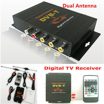 1x HD DVB-T Mpeg2 Mpeg4 Car Mobile Digital TV Receiver Box TV Tuner Dual Antenna
