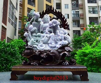 40CM 100% Jadeite Emerald Jade Bird Fish Tongzi Child Kwan-yin Guan Quan Yin