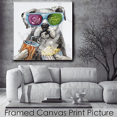 *Dog Drinking* Stretched Canvas Print Picture Hang Wall Art Home Decor Gift NEW