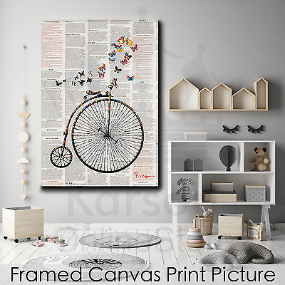 *Bike Butterflies* Stretched Canvas Print Picture Hang Wall Art Home Decor Gift