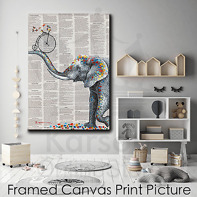 *Elephant Bike* Stretched Canvas Print Picture Hang Wall Art Home Decor Gift NEW