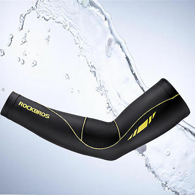 2017 RockBros Summer Cycling Arm Cover Cuff Upgrade Sun Protection Black Yellow