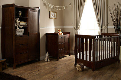 Lincoln Mini Cotbed 3 Pce Set Walnut Nursery Furniture Cotbed & Changer Wardrobe