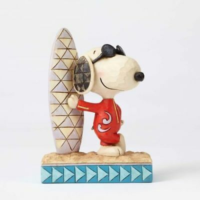 New Enesco Jim Shore Peanuts Joe Cool Snoopy With Sur Figurine