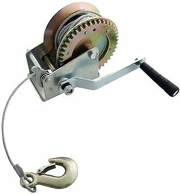 Am-Tech 1200LB Car Boat Heavy Duty Hand Winch & 10M Cable & Hook