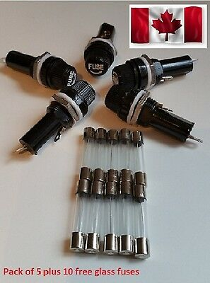 Xell 5 Pcs Alco 6x30 Panel Mount AGC Fuse Holder With 10pcs fuse AGC