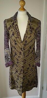 "JEANETTE FARRIER 'KANTHA' JACKET INDIAN BLOCK PRINT sari fabric 36-38"" FESTIVAL"