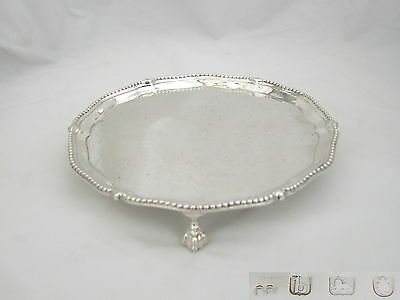Rare George Iii Hm Sterling Silver 3 Footed Salver 1777
