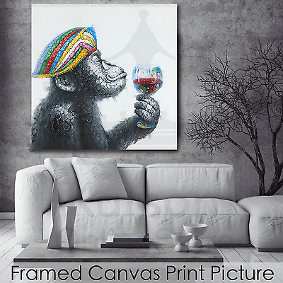 *Chimp Drinking* Stretched Canvas Print Picture Hang Wall Art Home Decor Gift