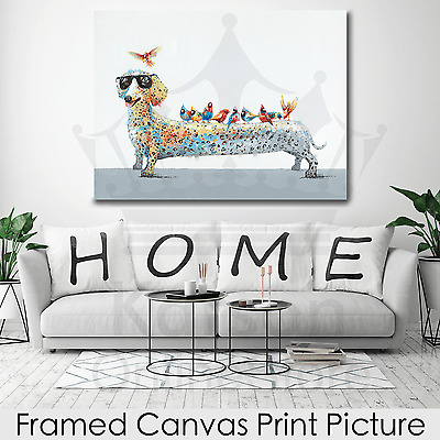*Dachshund Birds* Stretched Canvas Print Picture Hang Wall Art Home Decor Gift
