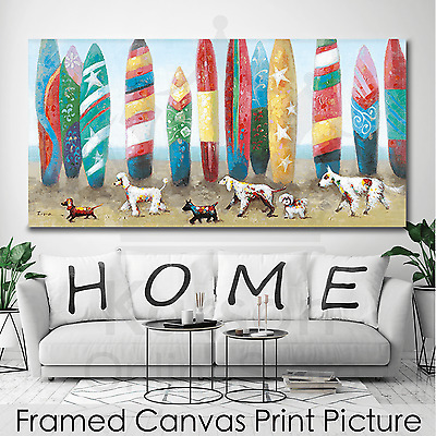 *Dogs at Beach* Stretched Canvas Print Picture Hang Wall Art Home Decor Gift NEW