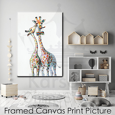 *Two Giraffes* Stretched Canvas Print Picture Hang Wall Art Home Decor Gift NEW