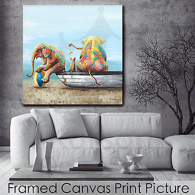 *Two Elephants* Stretched Canvas Print Picture Hang Wall Art Home Decor Gift NEW
