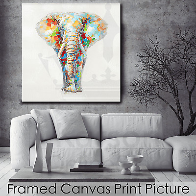 *Elephant* Stretched Canvas Print Picture Hang Wall Art Home Decor Gift NEW
