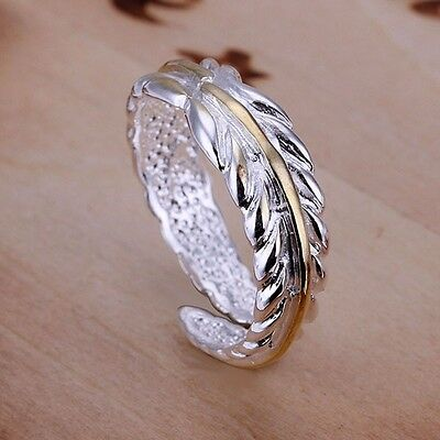 925 Sterling Silver Plated  Feather  Adjustable Thumb/finger  Ring