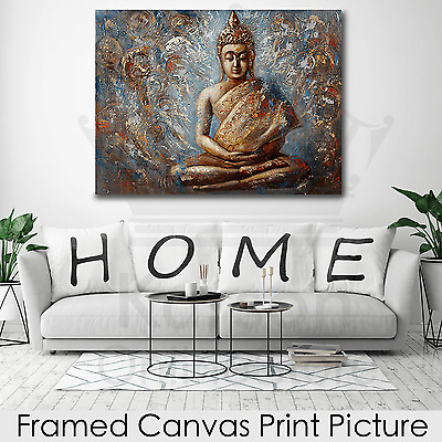 *Golden Buddha* Stretched Canvas Print Picture Hang Wall Art Home Decor Gift NEW
