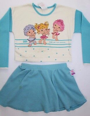 Vintage Hugga Bunch Girls Pajama Set Size 6 Skirt Top See Description 1980s Rare
