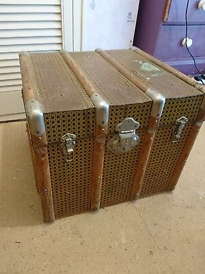 Antique Victorian Metal & wood Steamer Trunk coffee table