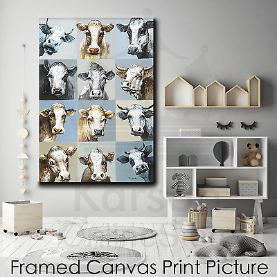 *Assorted Cow* Stretched Canvas Print Picture Hang Wall Art Home Decor Gift NEW