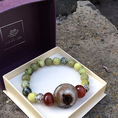 Connemara marble, eye and fire agate Celtic bracelet. Irish Jewelry Sue Bowden