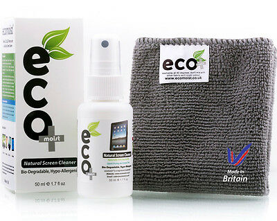 Ecomoist Natural Screen Cleaner 50ml with Fine Microfiber Towel *BRAND NEW*